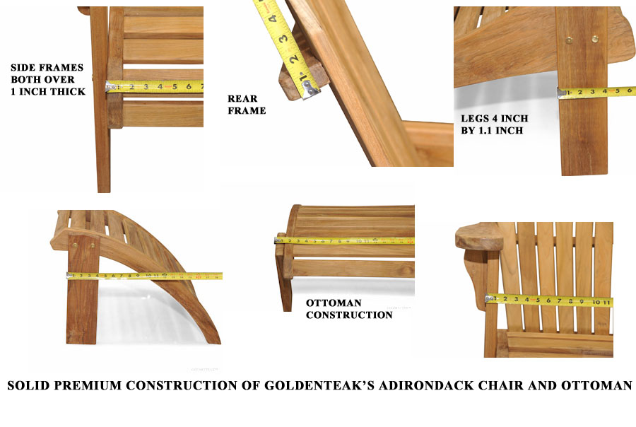Goldenteak Teak Adirondack Chair showing heft and quality